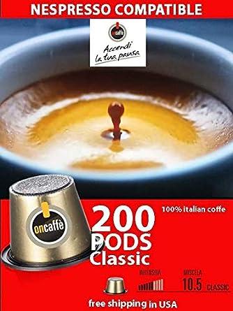 Cápsulas compatibles con Nespresso, 200 cápsulas de café ...