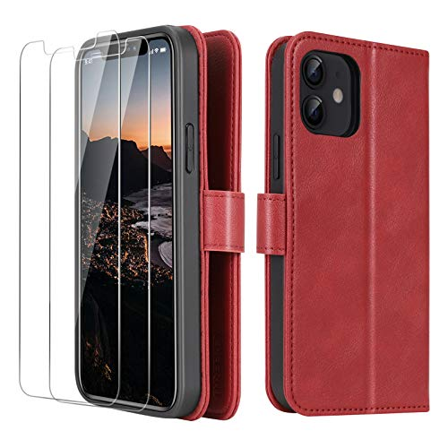 iPhone 12 Mini 2020 5.4 Inch Wallet Case, [2 Pieces Glass Screen Protectors], [RFID Blocking Protection], PU Leather Flip Folio for iPhone 12 with Card Slot Magnetic, Phone Case for iPhone 12, Red