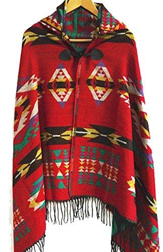 FENTI Bohemian Fringe Cape, Thicker Daily Fashion Cloak Shawl Pashmina for Women , Red , One Size