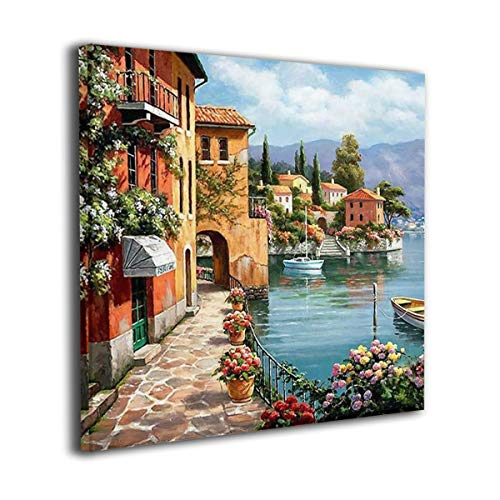 Martoo Art Silent Harbor Painted Framed Oil Paintings Printed On Canvas Wall for Office Home Decor Pictures Modern Artwork Hanging for Living Room Decorations Ready to Hang