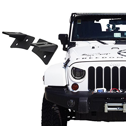 Xprite Lower Steel Windshield Hinge Corner Brackets Mounting For LED Spot Flood Lights on 2007-2018 Jeep Wrangler JK - 1 Pair (Windshield Hinge Jeep Wrangler)
