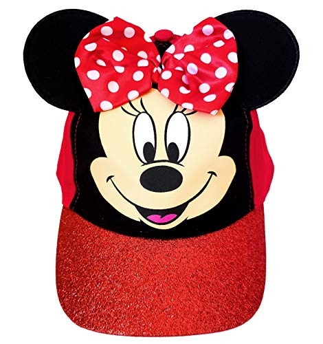 Disney Minnie Mouse Girls Red Character Baseball Cap with Red Bow