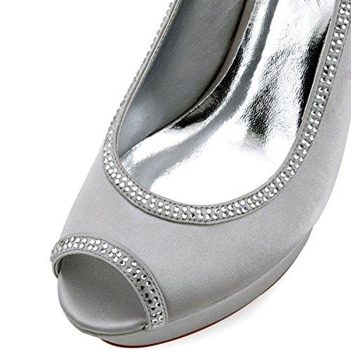 ElegantPark HP1503P Zapatos de tacón Punta abierta Plataforma raso fiesta zapatos de novia Mujer plata