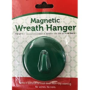 Magnetic Wreath Holder for Steel Doors - Green - No Nails No Wires! Holds up to 6 pounds 47