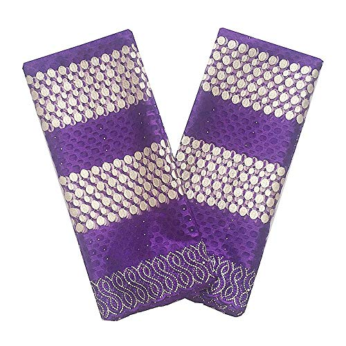 WorthSJLH African Lace Fabric 2018 Lace for African Parties White Gold Lilac Lace Fabric New Tulle French Lace Fabrics LF867 (Purple) (High Quality Swiss Voile Lace From Switzerland)