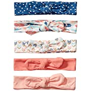 Hudson Baby Baby Girls' Headband, 5 Pack, Feathers, 0-24 Months