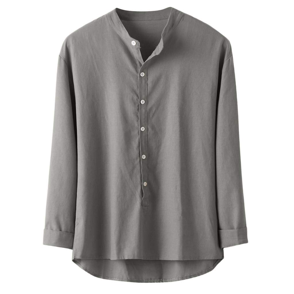 Ballad Mens Long Sleeve Blouses Casual Button Linen and Cotton Shirts Plus Size Solid Tops Shirts