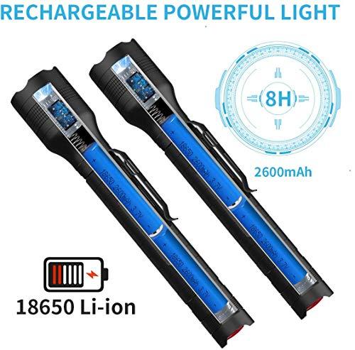 Nicefuse Torcia LED Ricaricabile 2 in 1, torce da 2 pezzi Lanterna super luminosa 1500 lumen, impermeabile IPX4, torcia tattica zoomabile a 5 modalità con caricatore USB e 4 batterie 18650