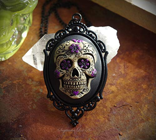 Purple and Black Sugar Skull Dia De Los Muertos Day of the Dead Hand Made Cameo Necklace