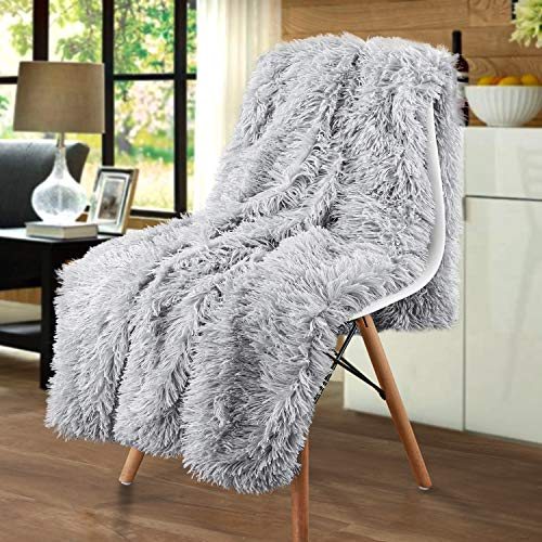 Merit Home Shag with Sherpa Reversible Warm Throw Blanket, Ultra Soft, Cozy Plush Luxury Fuzzy Longfur Blanket, Hypoallergenic and Washable Couch Bed Fluffy Furry Throws Photo Props, 50x60-Silver Grey (Furry White Blanket)