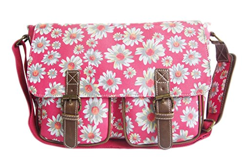 HandBags Girly Floral Canvas Cross Body College School Satchel Womens Mini Plum Buckle 1qqwxdO