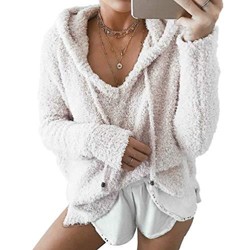 Jumper Pull uni couleur Large Sweat Top Fleece Sweatshirt capuche Dimensione Zhrui Rosa à Bianca Womens Aq0YxqZ8