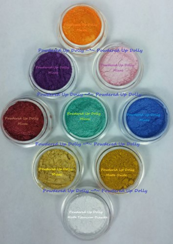(Lot of 9-3g Grams (BY VOLUME) JARS Sample Matte Mica Cp Mp Hp DIY Soap Making Pigment Shimmers Orange Purple Pink Burgundy Teal Blue Yellow Oxide Mica White Titanium Dioxide Powders)