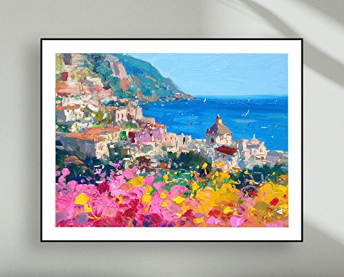 Positano Italy Art Print Amalfi Coast Poster Large Seascape Canvas Wall Decor