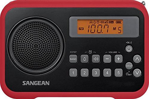 Sangean PR-D18RB AM/FM/Clock Portable True Digital Radio with Protective Bumper (Black/Red Limited Edition) (Portable Digital Am Fm Radio)