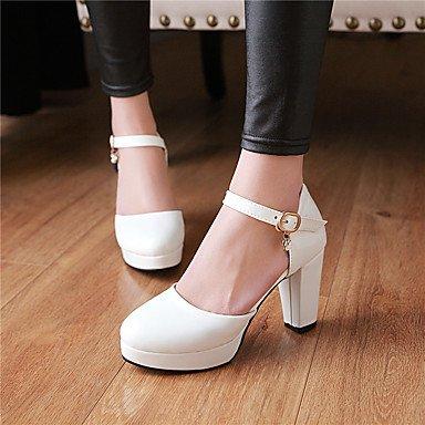 LvYuan Mujer-Tacón Robusto-Otro-Sandalias-Oficina y Trabajo Vestido Fiesta y Noche-Cuero Patentado-Negro Rosa Blanco Pink