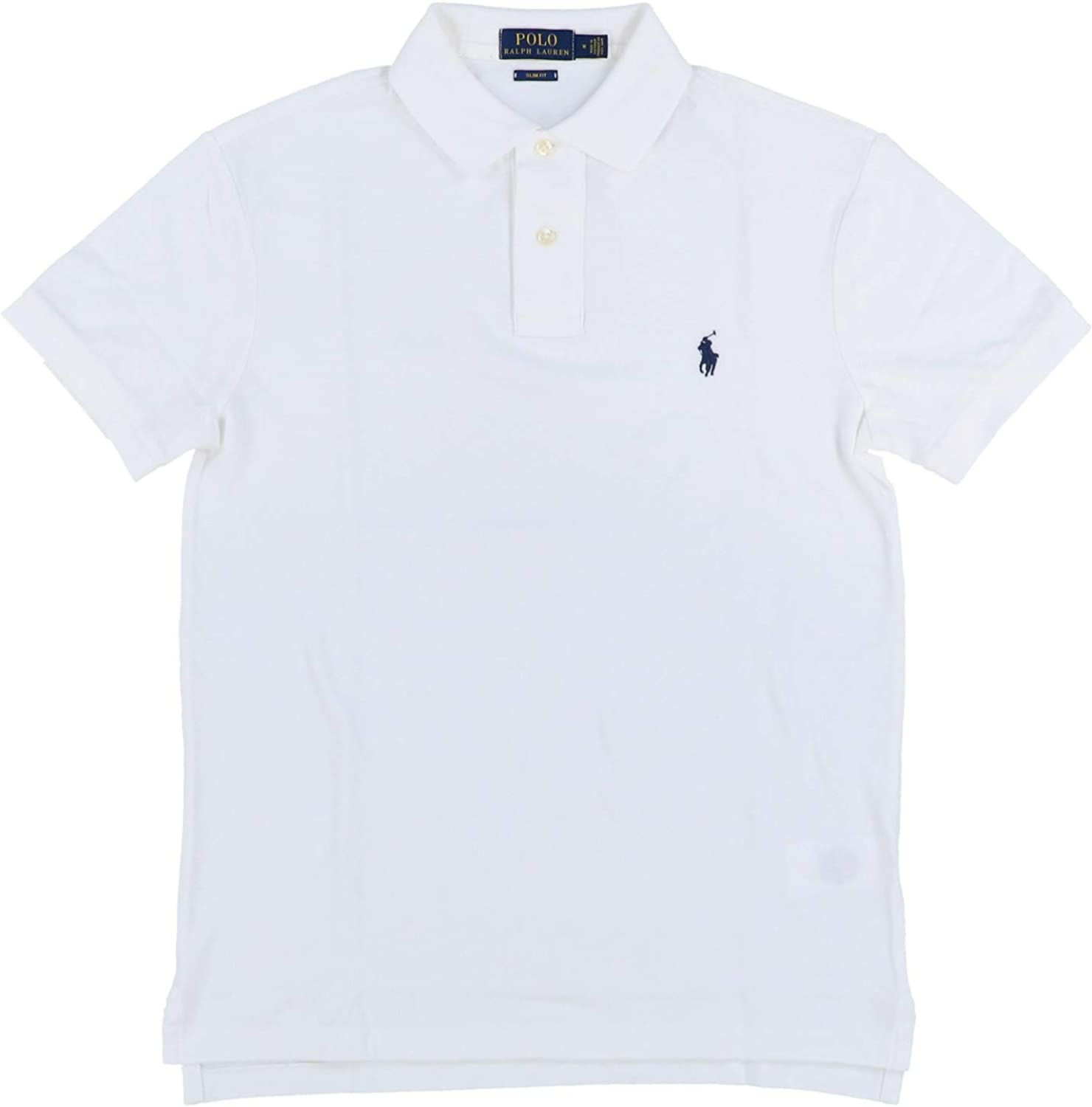 Polo Ralph Lauren, polo slim fit piqué de hombre (Medium, Blanco ...