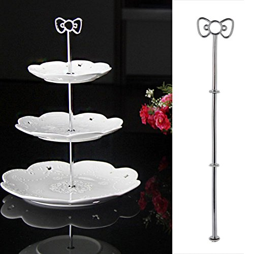 - ZZH 3-Tier Dessert Stand Pastry Stand Cake Stand Cupcake Stand Holder Serving Platter with Rosette Decoration,Silver