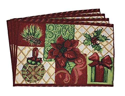 Tache Christmas Poinsettia Elegant Festive Holiday Tidings Woven Tapestry Placemats Set of 4 (Christmas Placemats Sale)