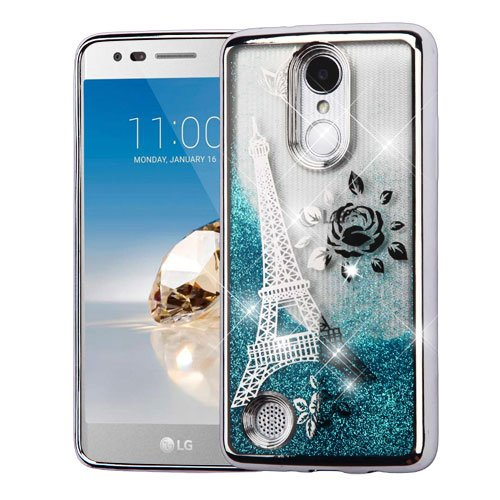 Paris Glitter (ShopAegis - [GLITTER QUICKSAND] [Blue] Paris Eiffel Tower Silver Electroplating Floating Liquid Phone Cover Case for LG [V3][ARISTO][K8 2017 ][PHOENIX 3][FORTUNE][K4 2017 ][REBEL 2])