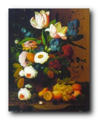 Bunch of Flowers Wall Decor Fruits Still Life Picture Art Print Poster (16x20)