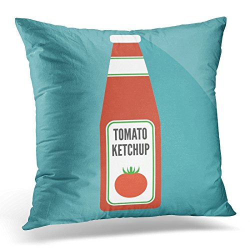 Emvency Throw Pillow Covers Red Bottle Tomato Ketchup Flat Design White Sauce Decorative Pillows case Square Size 16 x 16 Inches Home Decor Sofa Pillowcase