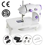 Mini Portable Sewing Machine Double Speed Control Double Thread Needle Electric Household Automatic Sewing Machine with Foot Pedal