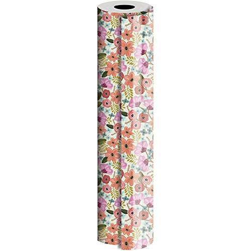 JAM Paper® Industrial Size Bulk Wrapping Paper Rolls - Gypsy Floral Design - 1/4 Ream (416 Sq Ft) - Sold Individually by JAM Paper