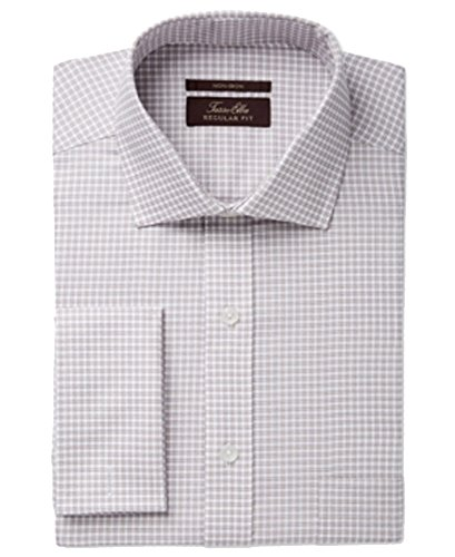 Herringbone Classic Dress - Tasso Elba Men's Classic Fit Non-Iron Herringbone French Cuff Dress Shirt (Tan, 18X36/37)