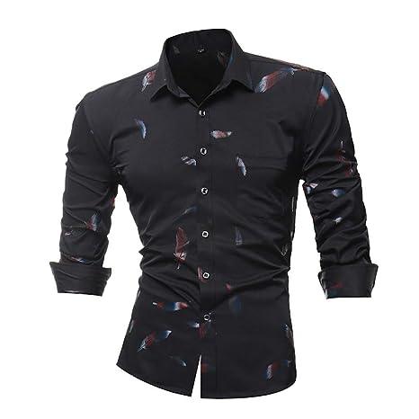 Camisa casual Otoño de hombre,Sonnena ❤ La camisa impresa de los hombres de