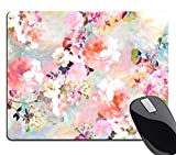 Wknoon Gorgeous Watercolor Pink Flowers Pattern Decorative Mouse Pad, Vintage Floral Mousepad Custom Romantic Floral Painting Art Mouse Pads