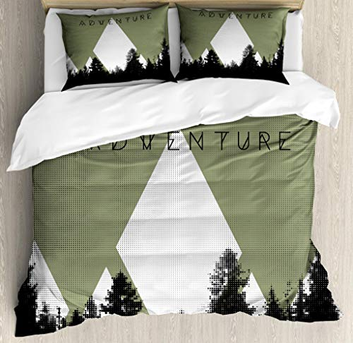 - Ambesonne Adventure Duvet Cover Set Queen Size, Forest with Halftone Effect Hipster Typography Camping in Mountains, Decorative 3 Piece Bedding Set with 2 Pillow Shams, Army Green Black White