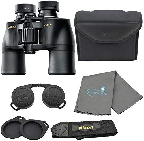 Nikon Aculon A211 8×42 Binoculars Black 8245 Bundle with a Lumintrail Cleaning Cloth