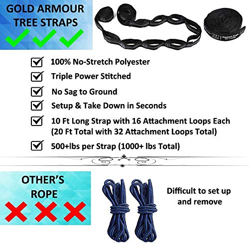 Gold Armour Camping Hammock – XL Double Parachute Camping Hammock (2 Tree Straps 16 LOOPS/10 FT Included) Lightweight Nylon Portable Hammock, Best Parachute Double Hammock (Black/Black)