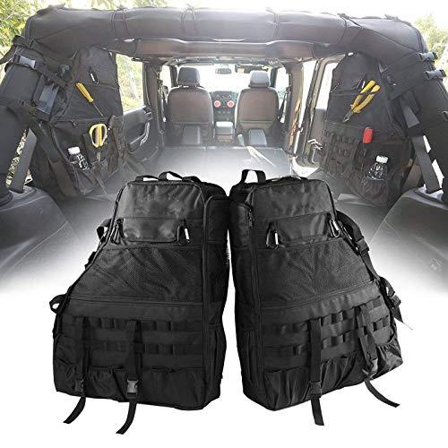 Roll Bar Storage Bag Cage for Jeep Wrangler JK TJ LJ & Unlimited 4 door with Organizers & Multi-Pockets & Cargo Bag Saddlebag Tool Kits Drink Bottle Phone Tissue Gadget Holder(2 pc) ()