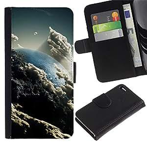 "Apple iPhone 4 / iPhone 4S , la tarjeta de Crédito Slots PU Funda de cuero Monedero caso cubierta de piel ("" Heaven Clouds Art Earth Sun Atmosphere"")"