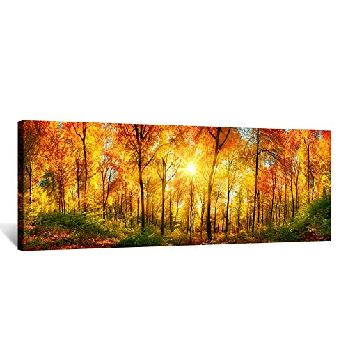 Kreative Arts - Large Wall Art Autumn Scenery Canvas Prints Panorama Forest in Vibrant Warm Colors Sun Shining Through Leaves Pictures HD Printed Painting Framed Art Works Home Walls 55x20in (Print Deco Canvas Art)
