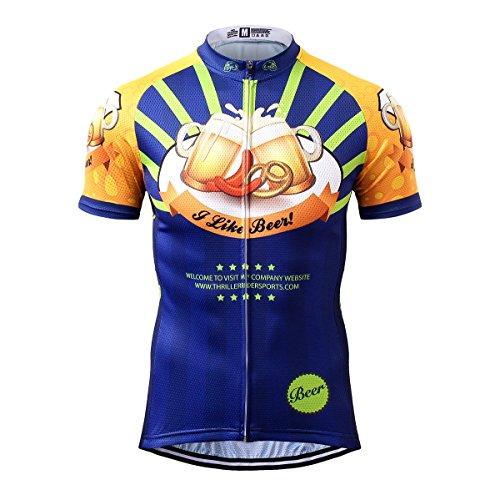オークりんご畝間Thriller Rider Sports サイクルジャージ メンズ 男性自転車運動服装半袖 I Like Beer