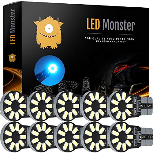 LED Monster 10-Pack Ice Blue 18-SMD LED Light Bulb for Turn Signal License Plate Interior Map Dome Side Marker Light 194 168 2825 175 192 W5W T10 Wedge Super Bright High Power 3016