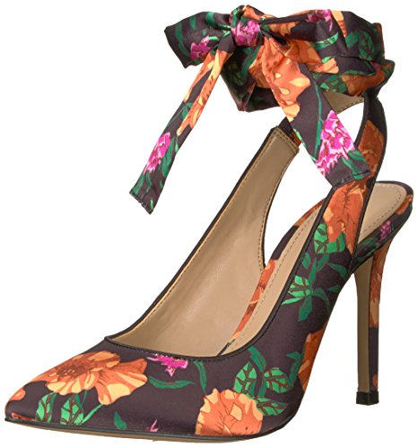 - Amazon Brand - The Fix Women's Jillian Sling Back Pointed Toe Lace-up Pump, Black Poppy Floral Print Satin, 7.5 B US