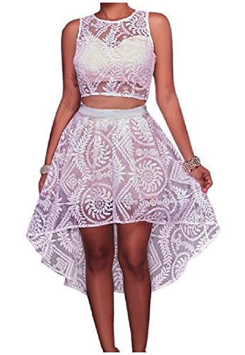 Lace pieces Floral Dovetail 2 Party White Sets Embroidery Dress Women's Coolred PHqxwZYIP