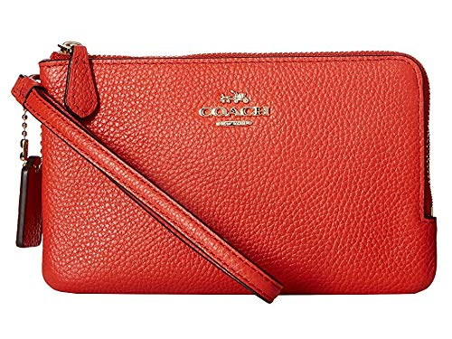 COACH Women's Polished Pebbled Leather Double Small Wristlet Li/Deep Coral One Size
