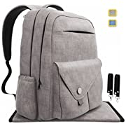 Diaper Bag Backpack Large Capacity, Multi-Function Waterproof Organizer for Baby Travel. W/ Stroller straps, Insulated Pockets, Stylish and Durable, Unisex - Gray