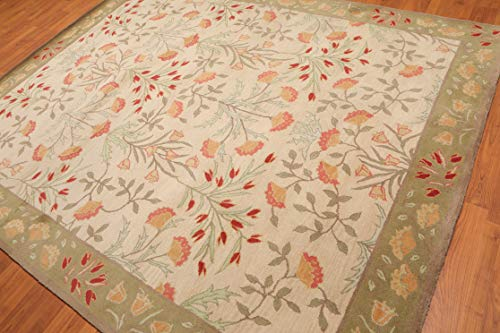 - 8'x10' Beige Pistacchio Rusty Red, Rose, Mint, Grey, Multi Color Hand-Tufted Persian Oriental Area Rug 100% Wool Traditional Persian Design Oriental Rug