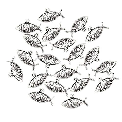 MagiDeal 20 Pieces Silver Jesus Fish Charms Pendant Finding Bead Making Crafts Christian Jewelry Supplies -