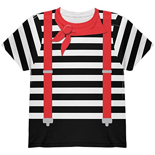 Halloween French Mime Costume All Over Youth T Shirt Multi YMD