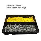 400 x Pozi Screws & Yellow Raw Fixing Plugs, Twin Thread 6 x 1'' Countersunk
