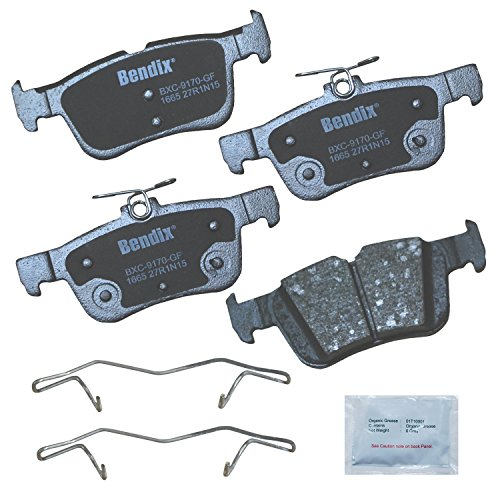 Bendix Premium Copper Free CFC1665 Ceramic Brake Pad (with Installation Hardware Rear), 4 Pack