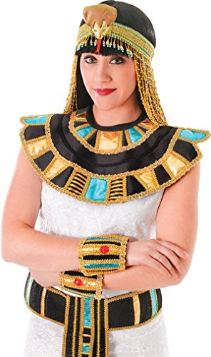 [Ladies Queen Cleopatra Fancy Dress Egyptian Necklace Roman Gold Collar Outfit] (Cleopatra Outfit)