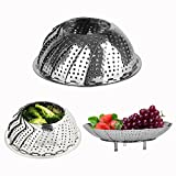 Cisixin Stainless Steel Foldable Adjustable Collapsible Food Vegetable Steamers Basket with Handle 14-24cm